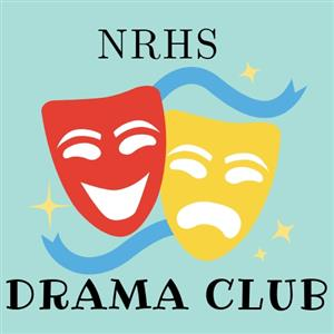 Red and yellow masks with NRHS Drama Club